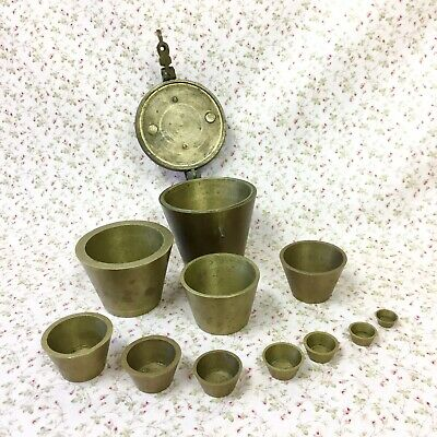 19th C. Antique 11pc Solid Brass Nesting Apothecary Scale Balance Weights Cups
