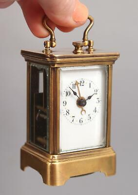 Miniature 19thC Antique Gilt Brass French Alarm Carriage Clock, Working, NR