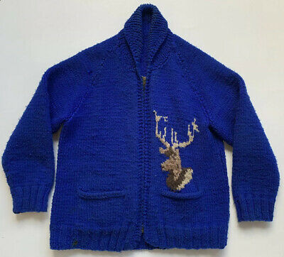 VTG Hand Knit Big Elk Deer Buck Cowichan Shawl Collar Cardigan Sweater L