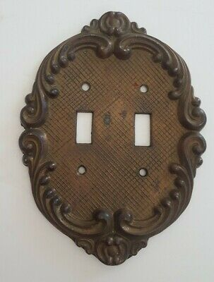 Vintage Ornate Oval Cast Metal Double Switch Plate