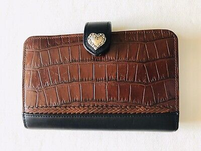 Brighton Scrolled Heart Black Brown Leather Croc Agenda Daytimer Planner Wallet