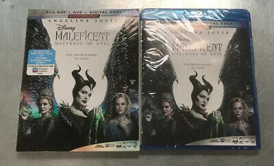 NEW - MALEFICENT MISTRESS OF EVIL - BLU-RAY + DVD + DIGITAL with SLIPCOVER