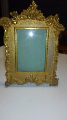 Vintage Art Nouveau Iron With  Brass Finish Picture Frame National Brass & Iron