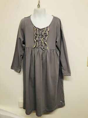 NWOT Pink Chicken Grey Dress long sleeve Button casual party Size 10Y #1090