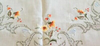 """Vtg French Italian Art Deco Cut Embroidered Linen Table Topper Tabelcloth 32"""" sq"""