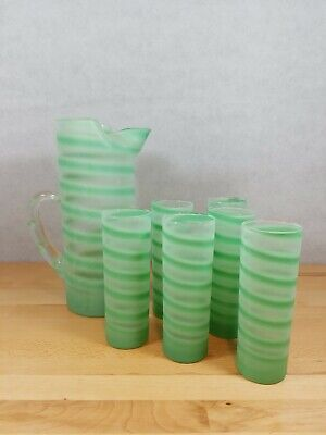 Vintage Blendo Swirled Spiral Frosted Pitcher 6 Tumblers Tom Collins Teal MCM
