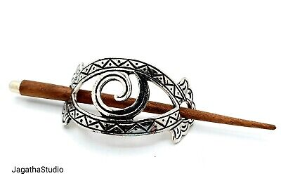 Ethnic Boho Barrete Hair Pin Clip Hair Accessories Silver Bras And Wood.