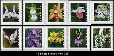 2020 US STAMP - Wild Orchids - Set of 10 Single (10 Coil Stamps) - SC#