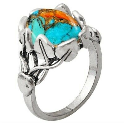 Antique Silver Plated Ring with Leaves and Turquoise size 6 or 7