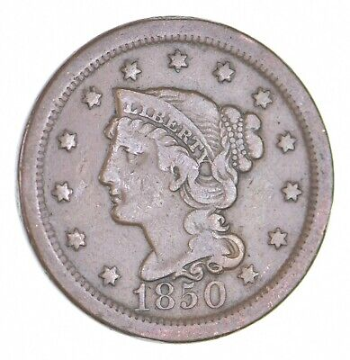 1850 Braided Hair Large Cent - Charles Coin Collection *473
