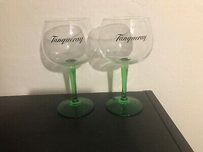 2 RARE Tanqueray Gin Balloon Crystal Promo Cocktail Glasses Green Stem XLNT COND