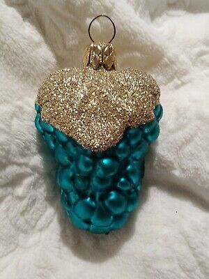West German Gold Glittered Teal Grape Bunch Blown Glass Christmas Ornament 3""