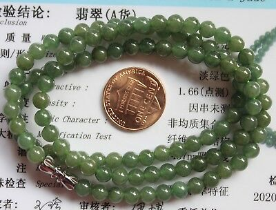 Genuine Jade CERTIFIED Natural (Grade A) Icy Green Jadeite Small Beaded Necklace
