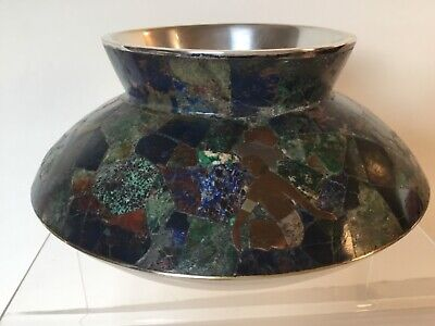 Rare Los Castillo Bowl Taxco Mid-Century Mexican Silver Inlaid Lapis Turquoise