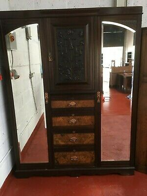 Stunning Antique Victorian Silk Lined Triple Wardrobe With Walnut Drawers