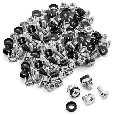 deleyCON 100x M6 Cage Nuts Screw Set for Network Cabinets - Patch Panel Racks Se