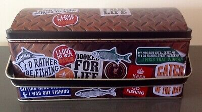Lunch Box Born To Fish Tin With Handle Fishing Humorous Comments Large Size