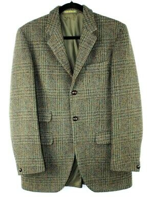 Vintage HARRIS TWEED Dunn & Co Great Britain 100% Wool Blazer Handwoven