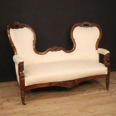 Sofa couch furniture in walnut wood antique living room seats white fabric 800