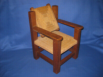 Rare Antique Art Deco 1920s Art+Crafts Very Small Oak Recliner Wicker Chair