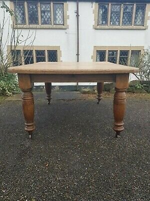A Lovely Antique Edwardian Solid Oak Wind Out Table with 2 Extending Pieces
