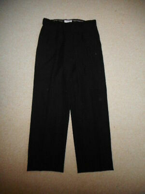 Womens Pants-CALVIN KLEIN-black stretch straight flat front lined-8