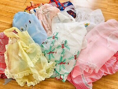 Lot Of 11 Vintage Aprons Sheer Nylon Pastel Blue Yellow Pink Swiss Dot Christmas