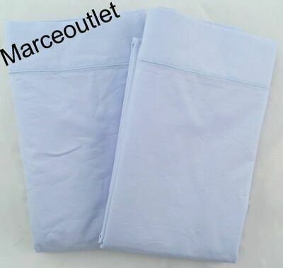 Matouk Luca Satin Stitch Egyptian Cotton Percale STANDARD Pillowcases Sky Blue