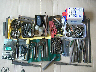 Job Lot Vintage Drill Bits, Lathe Bits, Screws, Chuck Keys, Files, Bolsters Etc.
