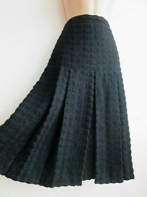 Vintage tweed skirt black pleated textured wool Coco Chanel style M W 28""