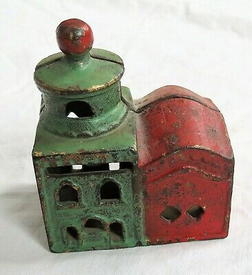 Original Red&Green Paint Cast Iron Still Bank Mosque Building Old Antique Vtg