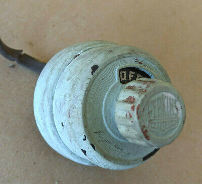 Antique Ceramic Round Electric ON/Off Switch Perkins Brand Working U Clean It