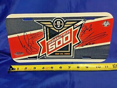 Indianapolis Indy 500 2003 Event Logo License Plate GIL DE FERRAN Signed & More