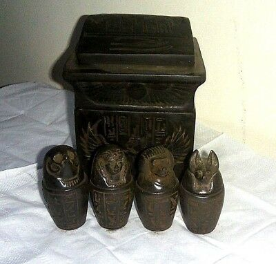 RARE ANCIENT EGYPTIAN ANTIQUE CANOPIC Jars In Box New Kingdom Ancient Antique BC