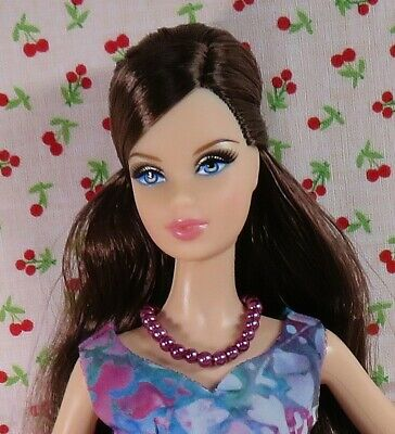 Barbie MODEL MUSE handmade OOAK classic DRESS watercolor purple/blue + purse WoW