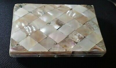 Beautiful antique mother of pearl shell card case silk lining