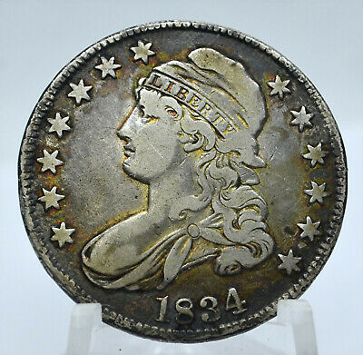 1834 Capped Bust, Lettered Edge Silver Half Dollar - Very Nice Coin