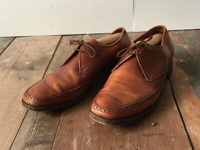 Vintage Men's BARKER Brown Leather Lace Up Shoes Oxford Made In England UK 7.5