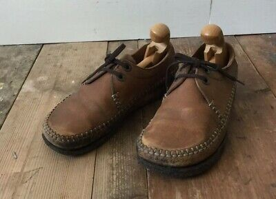 Vintage Mens Clarks Wallabees Moccasins Low Top Leather Brown UK6