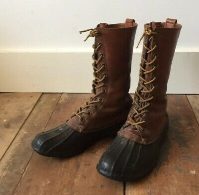 """Rare Vintage Mens Ll Bean 8"""" Duck Boots Maine Hunting Shoe Us 7 M Uk 6.5"""