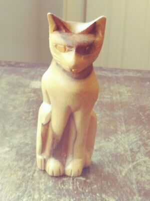 "VINTAGE MCM Carved Wooden Cat Sculpture Mid Century Modern 5"" Tall CATS SET"