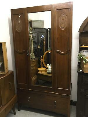 Lovely Ornate Vintage Mirrored Wardrobe With Drawer Very Good Condition