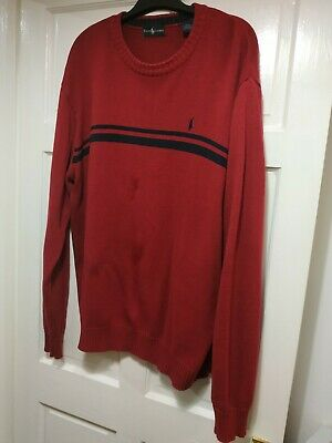 Polo by Ralph Lauren Mens Red Striped Sweater Jumper 2XL VGC RRP £149