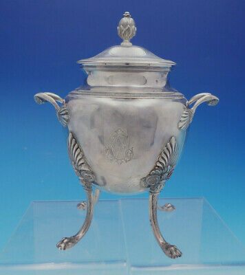 French Sterling Silver Egyptian Revival Style Sugar Bowl With Lion Feet (#4599)
