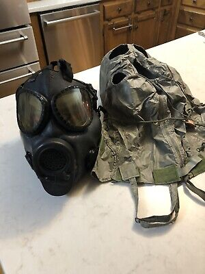 Vintage Military Chemical Biological Gas Mask 84 MSA and Coated hood