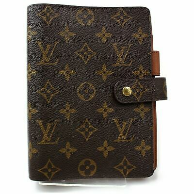 100% Auth Louis Vuitton Diary Cover Agenda MM R20105 Browns Monogram