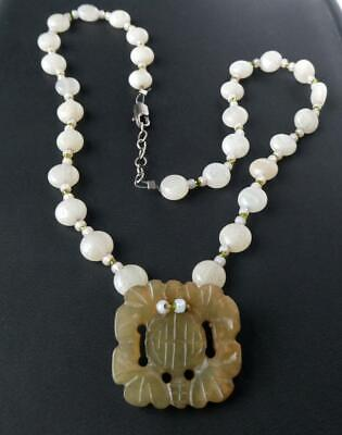Sterling Carved Nephrite Jade White Opalescent Bead Pendant Necklace 18""
