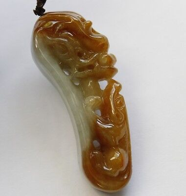 Certified Natural Grade A Jadeite Jade Gorgeous Yellow Dragons Pendant 望子成龙