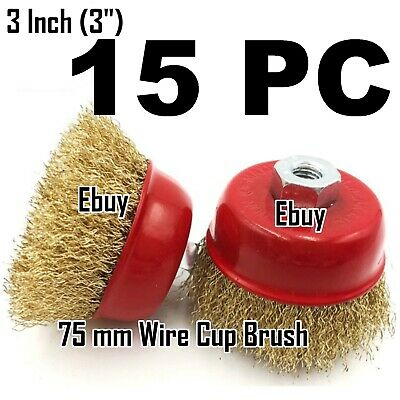 "15 PC 3"" x 5/8"" Arbor FINE Crimped Wire Cup Wheel Brush - For Angle Grinders"