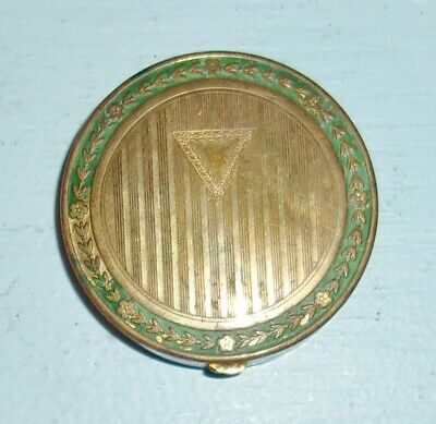 Vintage Antique 1917 Djer Kiss Brass Compact Duo Mirrors Engraved Laurel Lid